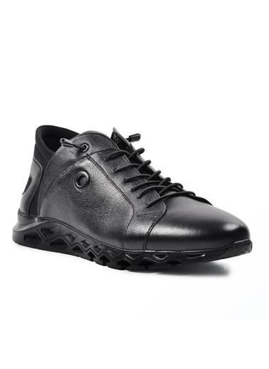 Voyager 4511 Siyah Erkek Hakiki Deri Günlük Ayakkabı Siyah